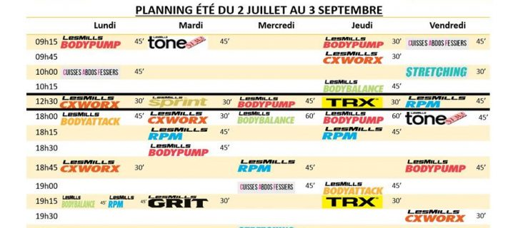 PLANNING SPORT AVENUE PAU ETE 2018